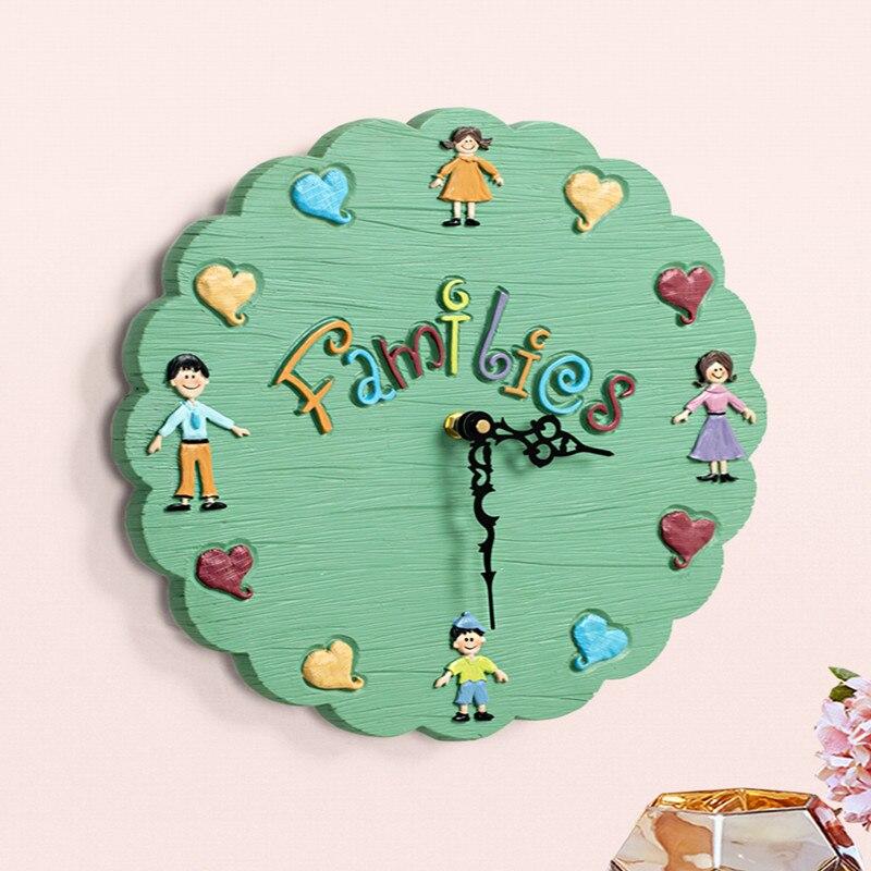 14 pouces style dessin animé enfants horloge murale salon montre calme enfants chambre dessin animé horloge murale décoration de la maison