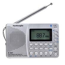 K607 Portable Radio AM/FM/SW/TF Multifunctional Pocket Radio MP3 Digital Recorder Support TF Card USB REC Recorder Sleep Time