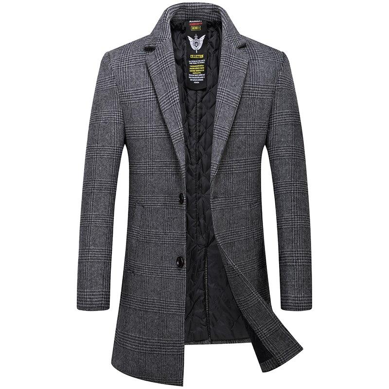 Men Casual Men's Coat In A Cage Gray Khaki Long Overcoat Men Woolen Men's Jacket Male Overcoat High Quality Wool Trench Coat