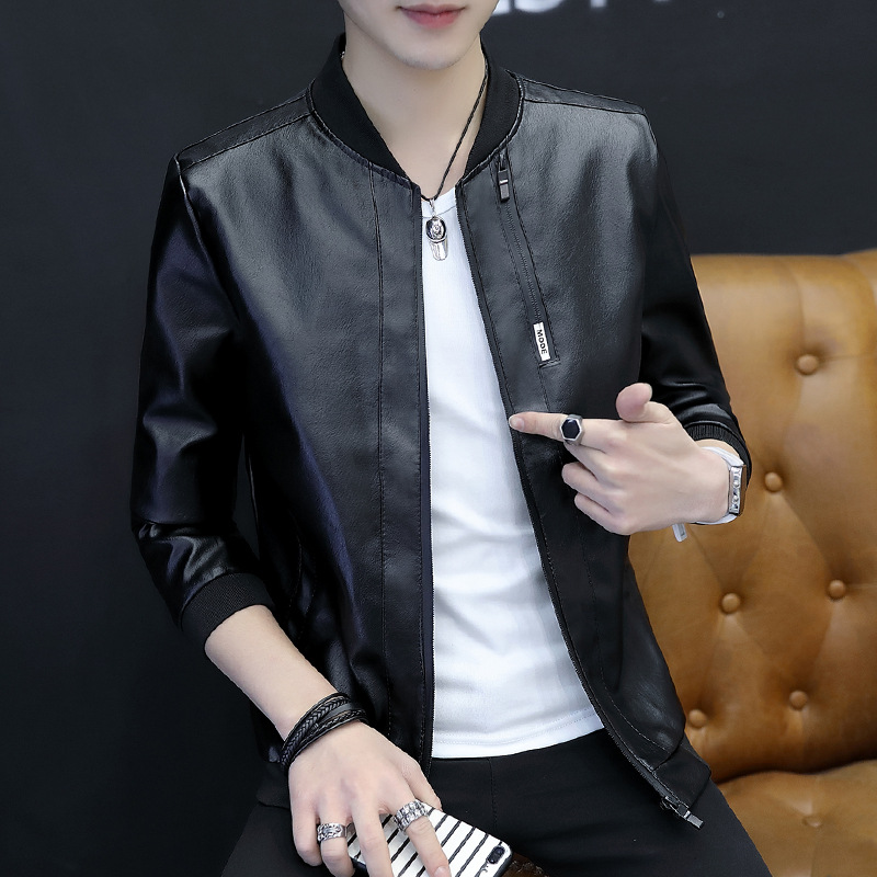 Coat Men's New Style Leather Jacket Slim Fit Korean-style Handsome Youth Locomotive Fashion Coat Casual Men'S Wear