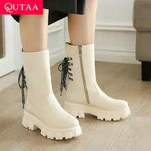 Short Boots Platform Square Heel Lace-Up Women Shoes Round-Toe Fashion Size-34-43 QUTAA