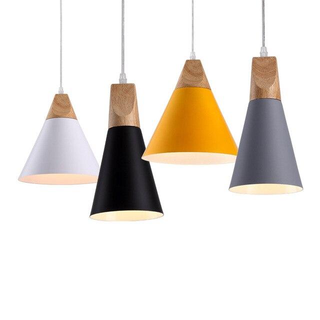 nordic led e27 алюминиевые деревянные подвесные светильники фотография