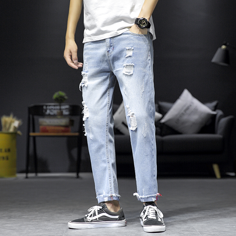2019 Men's Blue Ripped Hole Baggy Jeans With Big Pockets Hip Hop Designer Brand Skateboard Pants Loose Style Plus Size 29-46