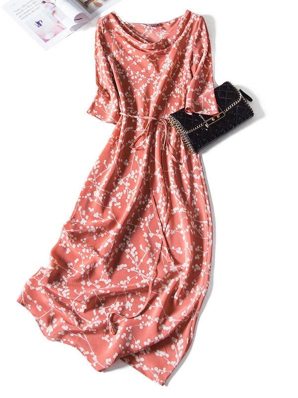 Tcyeek Summer Vintage Dress Women 100% Real Silk Dresses 2020 Korean Elegant Long Floral Vestidos Ladies Boho Party Dress 1169