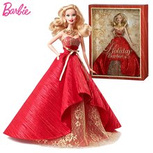 Original Joint Barbie Dolls Limited Collector Holiday with Red Dress Barbie Dolls Toys for Girls Toys for Children gift Juguetes