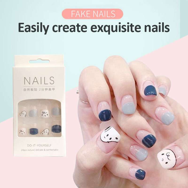 24pcs Detachable False Nail Artificial Tips Set Full Cover For Short Decoration Press On Nails Art Fake Extension Tips With Glue