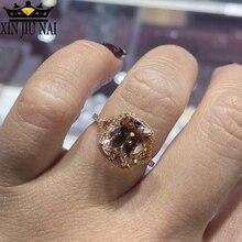 Лидер продаж, женское прямоугольное обручальное кольцо с инкрустированным розовым кристаллом