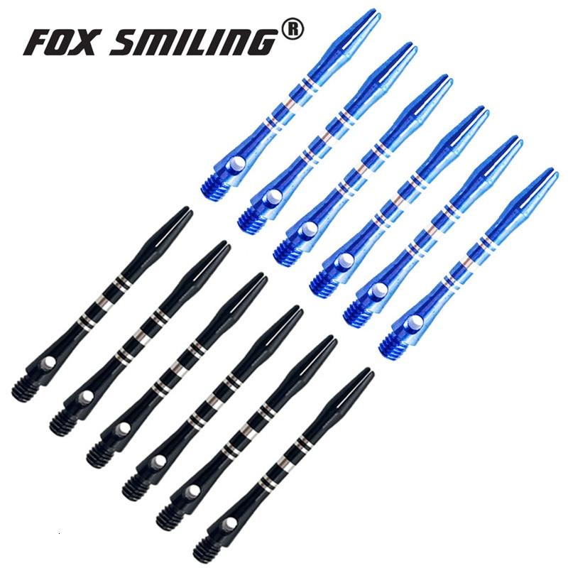 12/6PCS 41mm Aluminium Darts Shafts 2BA For Professional Darts Fox Smiling Blue Black Colors Darts Accessories