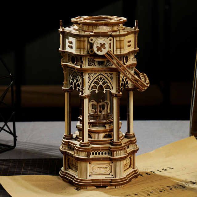 Robotime 210pcs DIY 3D Victorian Lantern Wooden Puzzle Game Assembly Music Box Toy Gift for Children Kids Adult AMK61 3