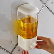 500ml dispensador de sabão montagem na parede do banheiro chuveiro shampoo loção recipiente titular sistema não perfurado hotel toliet