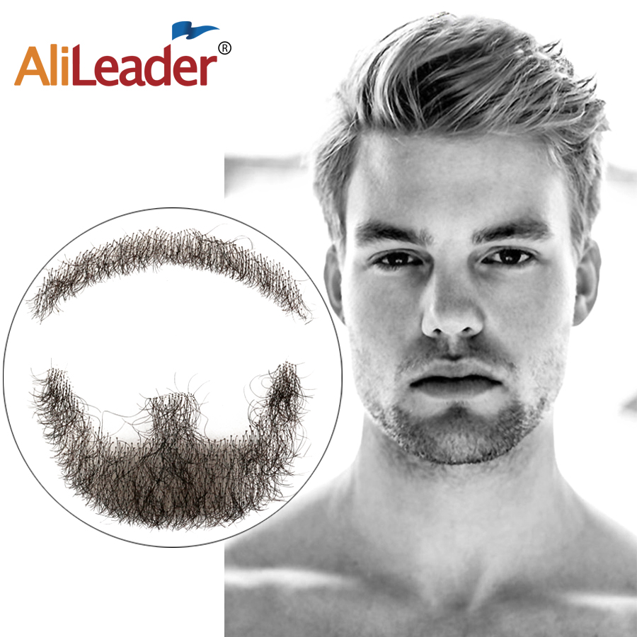 Alileader High Quality Brazilian Lace Invisible Fake Beards Salon Chat Lace Beard For Men 100% Hair Hand Made Mustache Remy Hair image