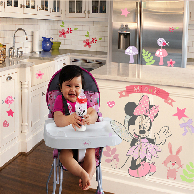 Disney Minnie Mouse Wall Stickers For Kids Baby Girls Rooms Nursery Home Decor Vinyl Cartoon Wall Decals Diy Mural Art 3