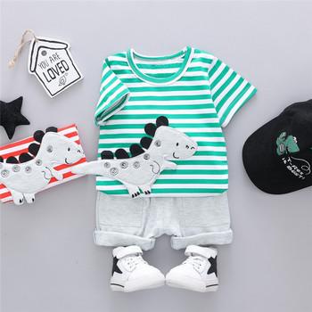 Zestawy ubrań dla chłopców koszulka w paski dla dzieci odzież dla chłopców garnitur dla letnich dzieci strój codzienny odzież dla niemowląt tanie i dobre opinie Summer S-M-L-XL Kids Clothing Sets Fashion Sets Children Clothing O-neck CHUNMU Drukuj REGULAR Krótki CN (pochodzenie)