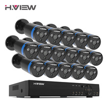 H.View 16CH 감시 시스템 16 1080P 야외 보안 카메라 16CH CCTV DVR 키트 비디오 감시 아이폰 안드로이드 원격보기