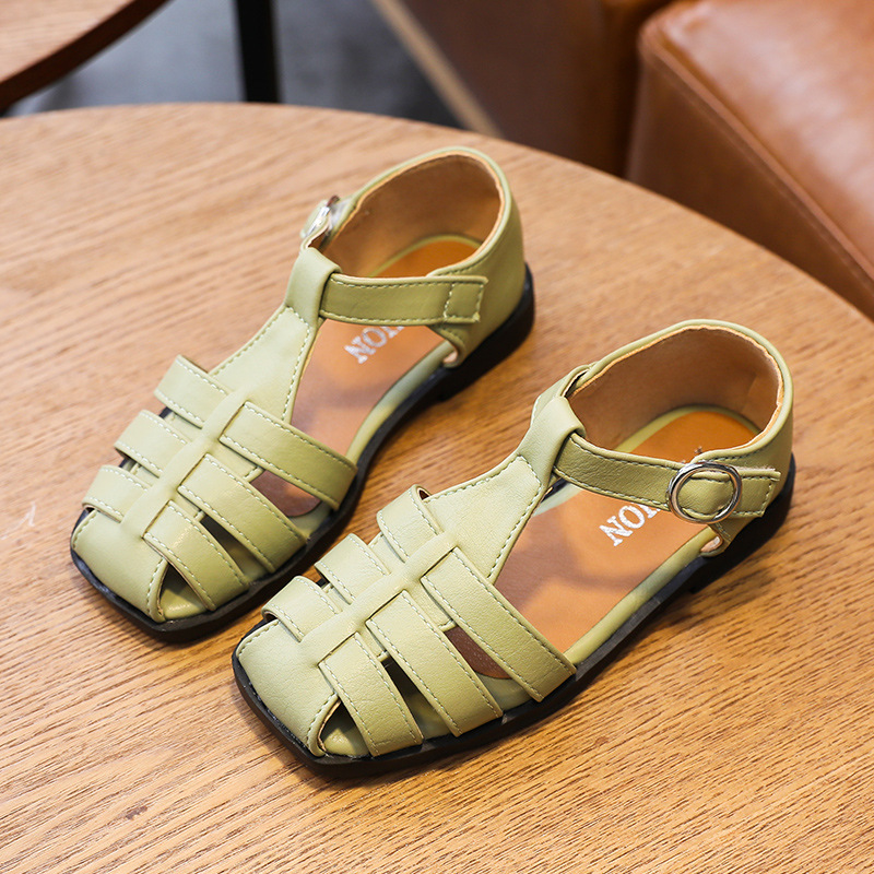 Kids Girls Summer Summer Princess Sandals Casual Shoes 3-11 Years Old Child Closed Toe Roman Leather Beach Shoes