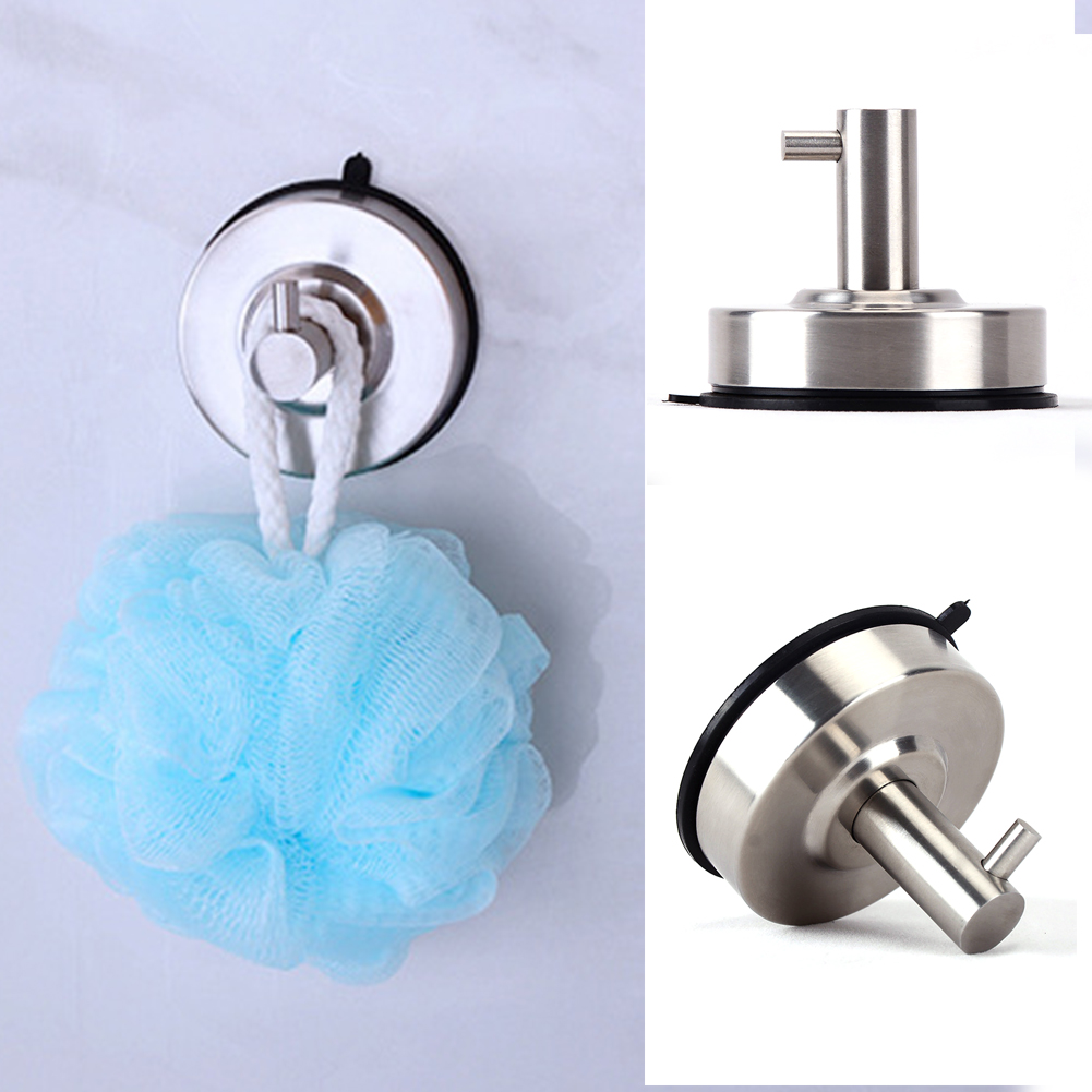 New Stainless Steel Sucker Wall Hooks Waterproof Removable Bathroom Shower Towel Wall Hook Strong Suction Cup Hook