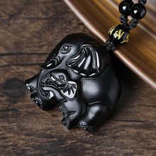 Black Natrual Obsidian Carved Elephant Nose God Of Wealth Lucky Pendants Mother And Child Necklace Pendant