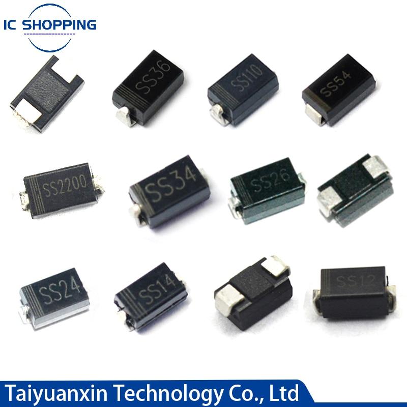 100PCS Schottky rectifier diode SS12 SS14 SS16 SS22 SS24 SS26 SS32 SS34 SS36 SS54 SS56 SS110 SS210 SB1100 1N5817 SR360 DO-214AC