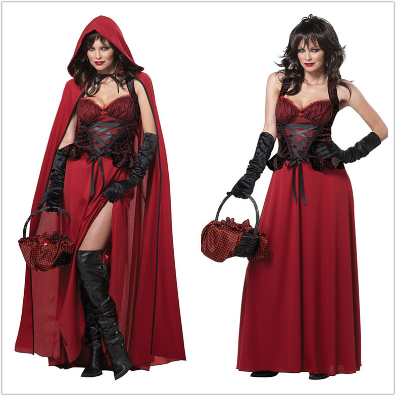 Makeup Ball Cosplay Dress Princess Dress Women's Adult Halloween Performance Costume Little Red Riding Hood Costume