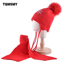 Winter Hat Scarf-Sets Pompoms-Hat Wool Beanie Knitted Girls Baby Kids Children 5-Styles