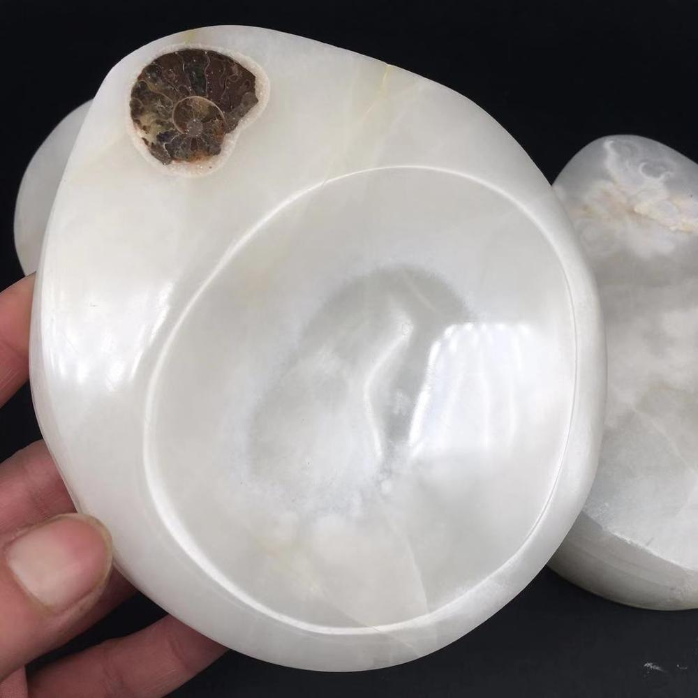 Cendrier en jade blanc pierres naturelles et cristaux de guérison des minéraux de quartz bol de pierres précieuses polies pour la décoration fine de la maison