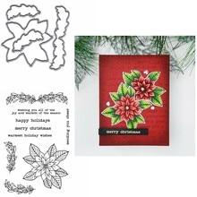 Poinsettia – matrices de découpe en métal, classique, Poinsettia, laureen, avec timbres transparents, chaleureux, vœux de vacances, Sentiments, bricolage, nouveau, 2020