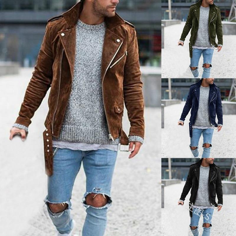 Men's Fashion Casual Jackets Autumn Solid Coats Winter Warm Long Sleeve Outwear Zipper Lapel Collar Male Pleat Coat Streetwears