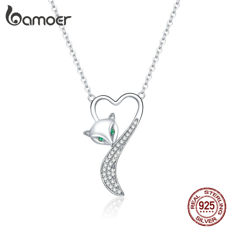 Bamoer Genuine 925 Sterling Silver Elegant Fox Heart Necklace For Women Clear Cubic Zirconia Animal Jewelry Accessories BSN148
