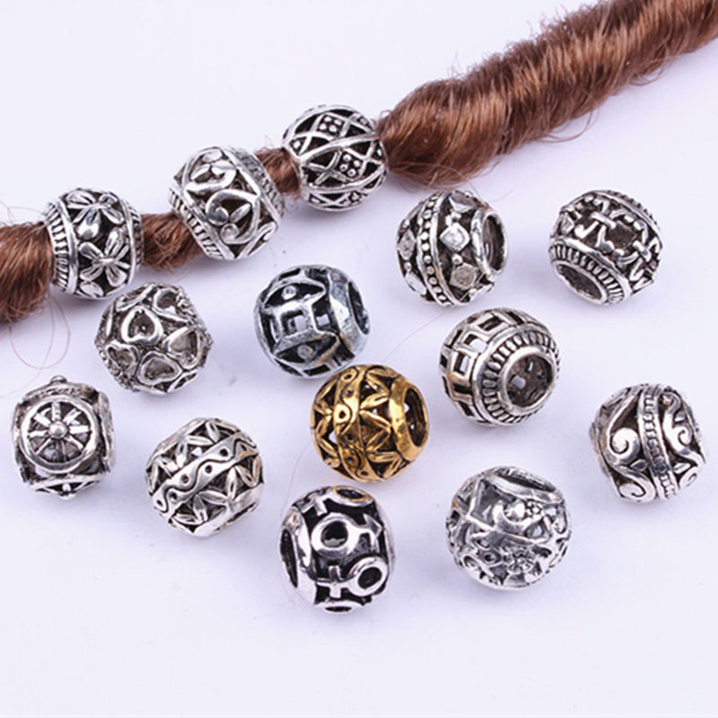 10PCS Retro Alloy Viking Hollow Round Hair Braid Dread Beard Dreadlock Beads Rings Tube For Hair Accessories Hole Size 4.5mm