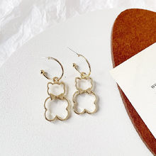 Korea Fashion Jewelry Silver color Bowknot hollow Bear Simple Cute Pendant Earrings for Woman Shine Holiday Party Jewelry Gifts