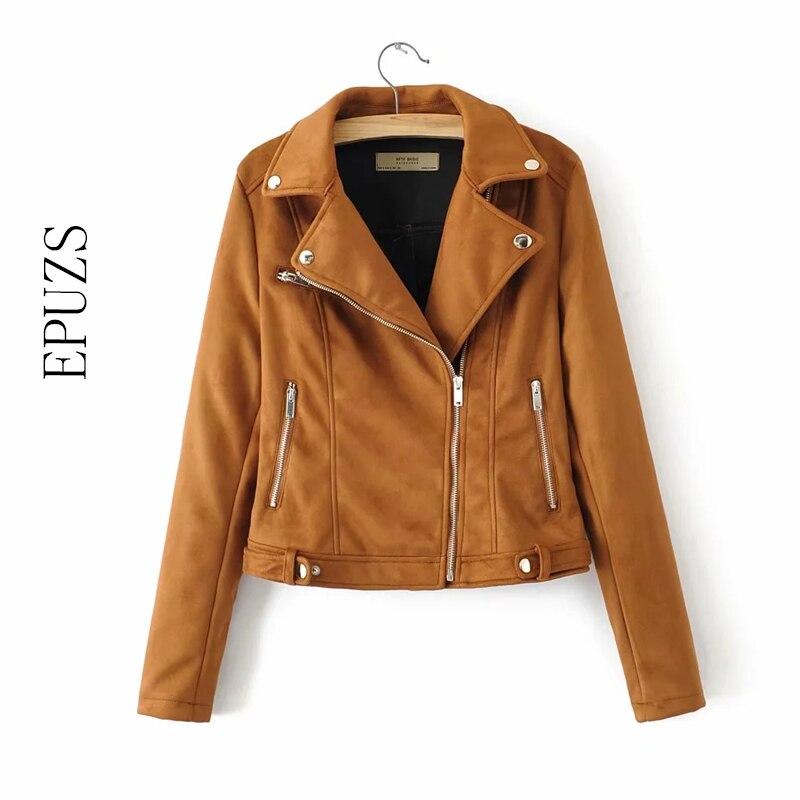 Spring zipper Khaki   suede   jacket women street motorcycle coat long sleeve punk biker jackets black long sleeve PU   Leather   jacket