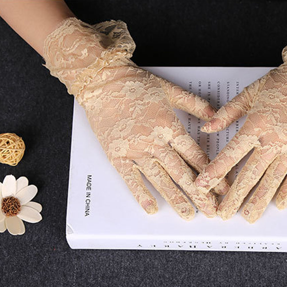 Black Lace Gloves Women 2019 Vintage Elastic Sun Protection Solid Sunscreen Summer Gorgeous Pink Finger Gloves Accessories Sexy