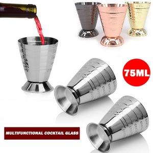 75ml Stainless Steel Bar Wine Cocktail Shaker Jigger Single Double Shot Drink Mixer Wine Measurer Cup Bar Tools
