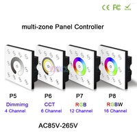 BC AC85V-265V led Wall-mounted DMX512 Console Master Touch panel controller dimming/CCT/RGB/RGBW dimmer for LED Strip Light