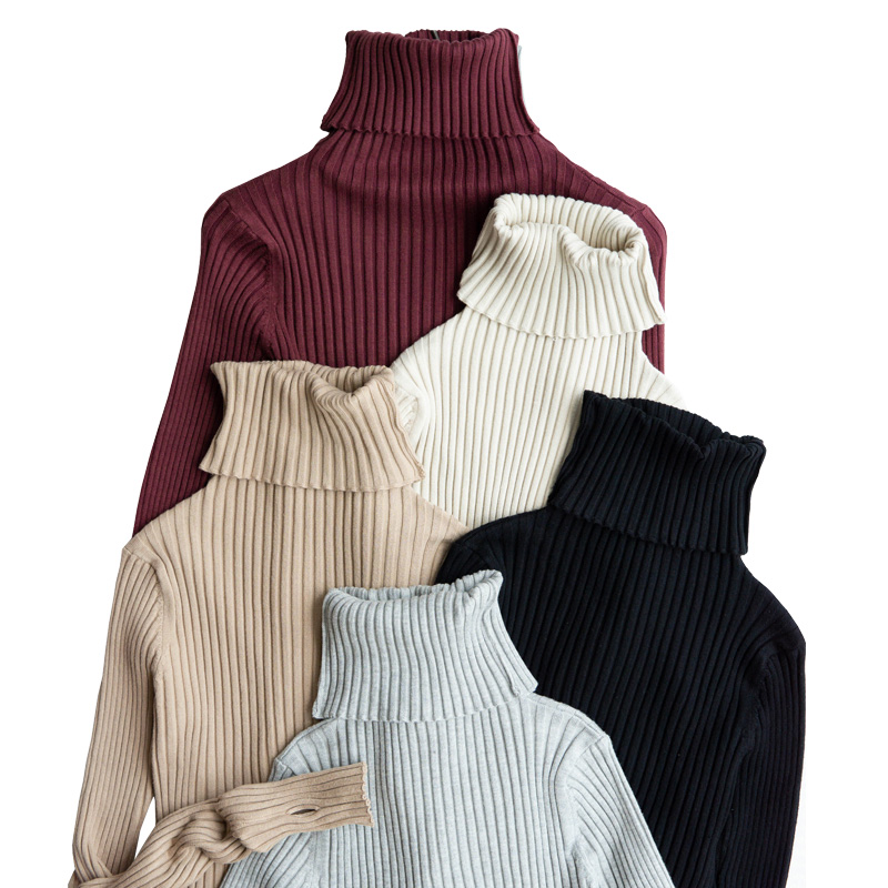 Ribbed Turtleneck Sweater Knitted Tops Women High Neck Pullovers With Thumb Hole Fall Winter Jumper