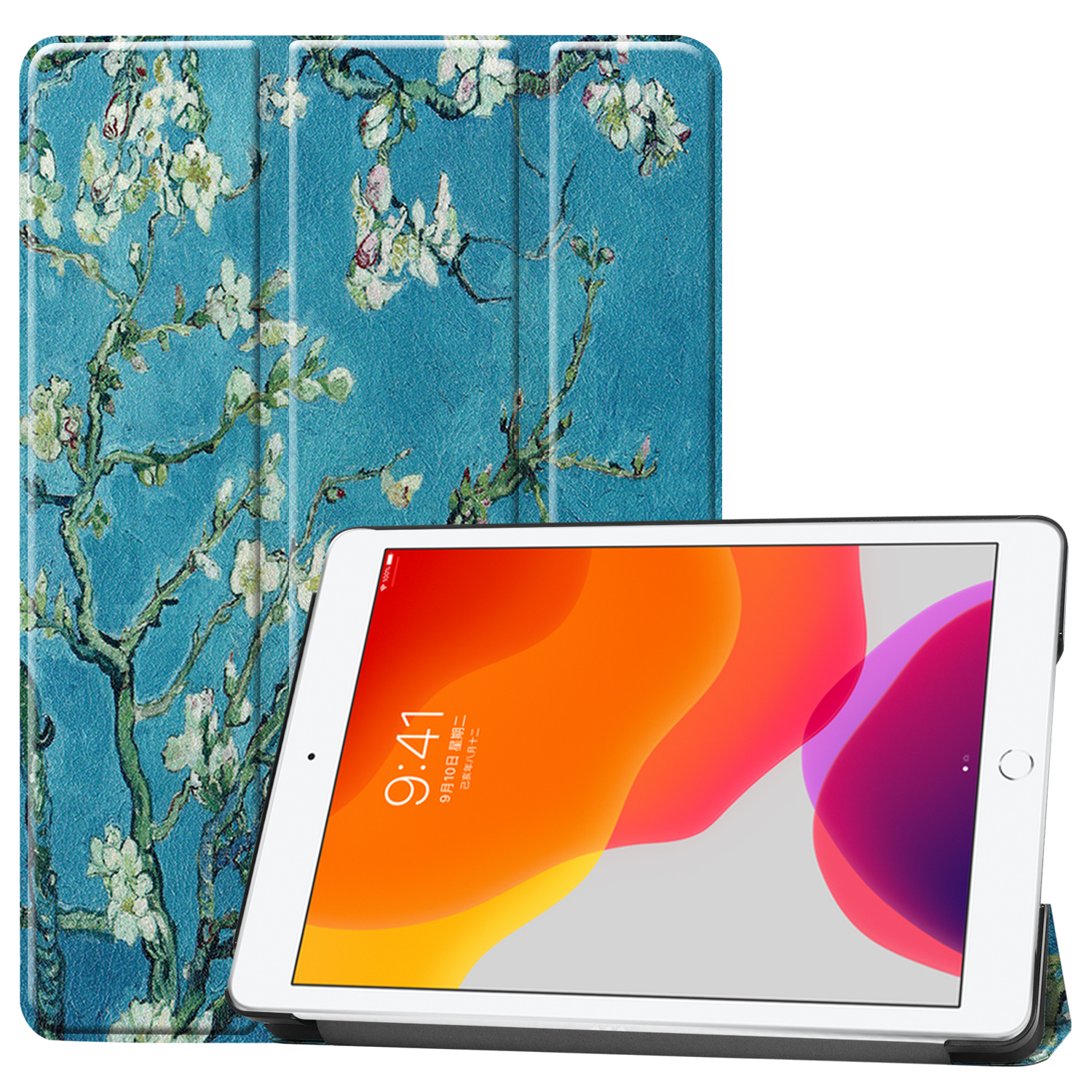 Blossom Gray Case For Apple iPad 10 2 2020 iPad 8 8th Generation A2270 A2428 A2429 Leather Magnetic
