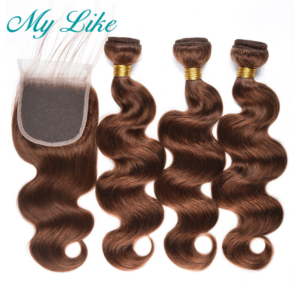 My Like Body Wave Bundles With Closure Peruvian Hair Weave 3 Bundles #4 Light Brown Non-remy Human Hair Bundles With Closure