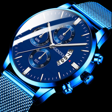 Montre Homme Classic blue Stainless Steel Mesh Belt Men Watch Fine Strap