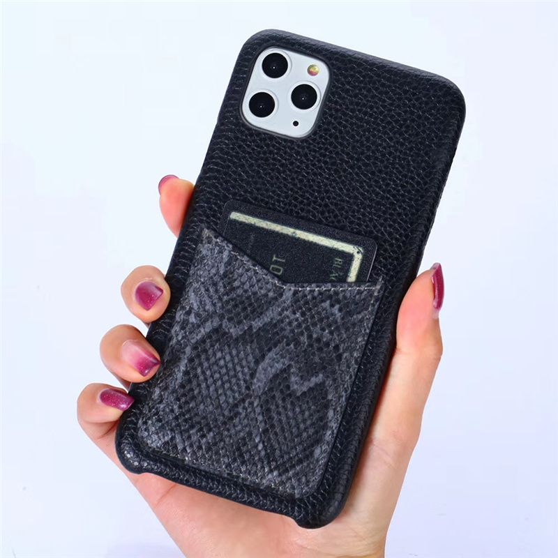 Luxury Snake Texture Card Holder Leather Case for iPhone 11 Pro Max