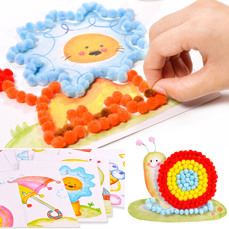 20pcs Soft Round Fluffy Crafts Toys For Children PomPoms Ball Mixed Color DIY Arts Craft Card Decoration 2019 Wholsale
