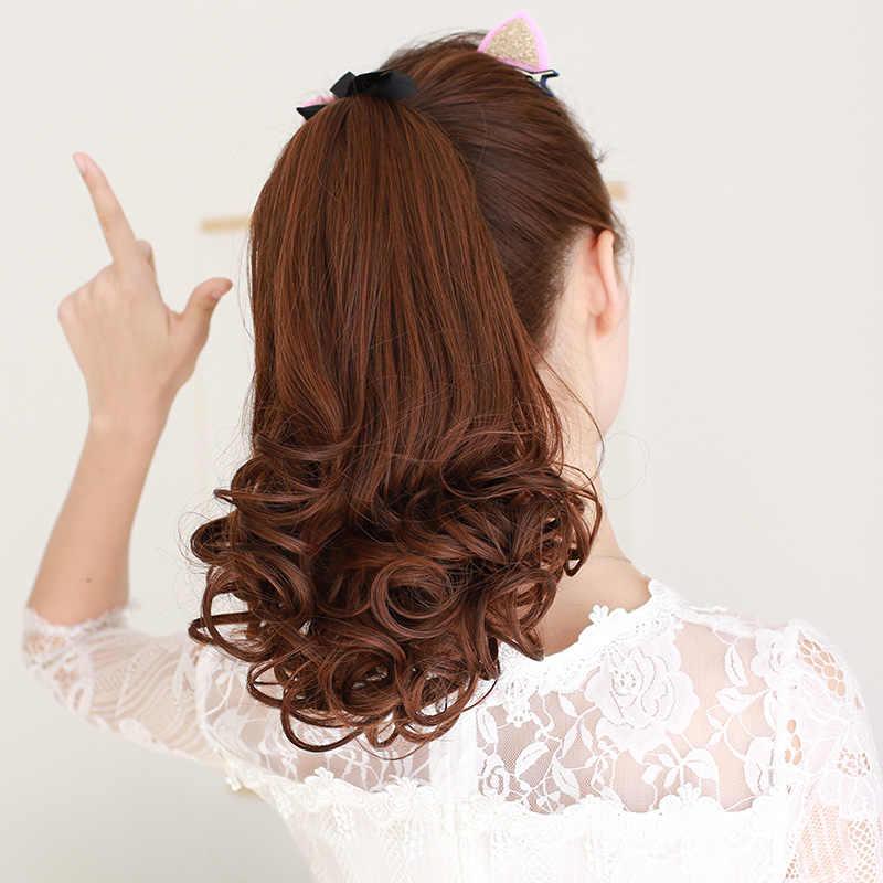 LUPU Wig virgin hair  ponytail  medium length  big wave long hair  pigtail  bandage  real hair  pear flower curly hair