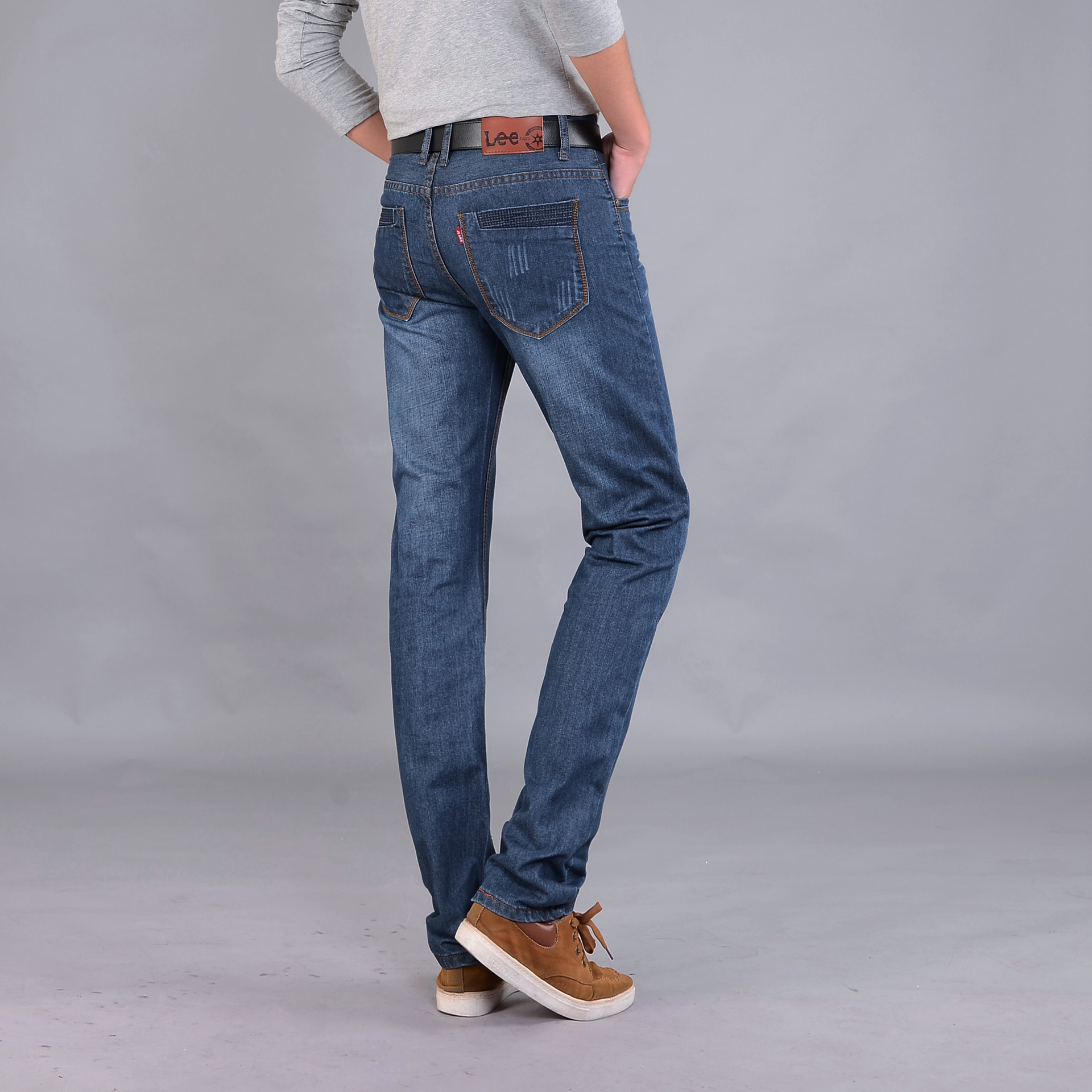 2018 New Style Fashion Straight-Cut Business Jeans Casual Trousers Middle-aged Men'S Wear Pocket Joint NZK Pants