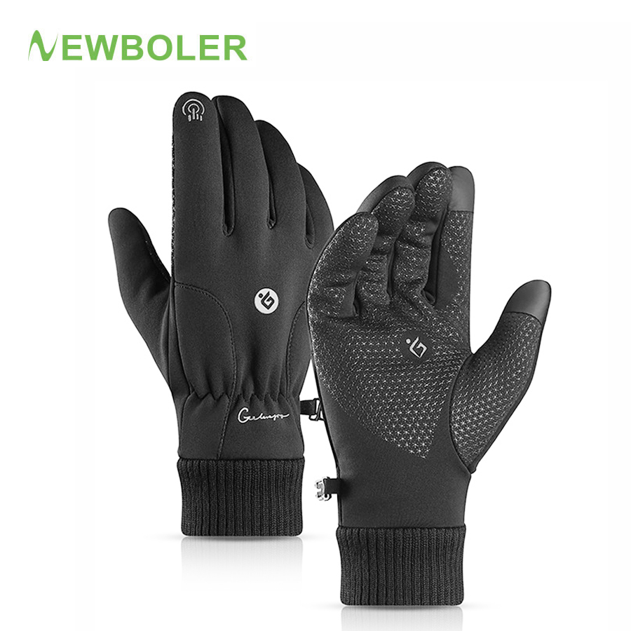 NEWBOLER Outdoor Sport Winter Thermische Warme Touchscreen Radfahren Bike Fahrrad Ski Laufen Motorrad Handschuhe Volle <font><b>Finger</b></font> Mann Frauen image