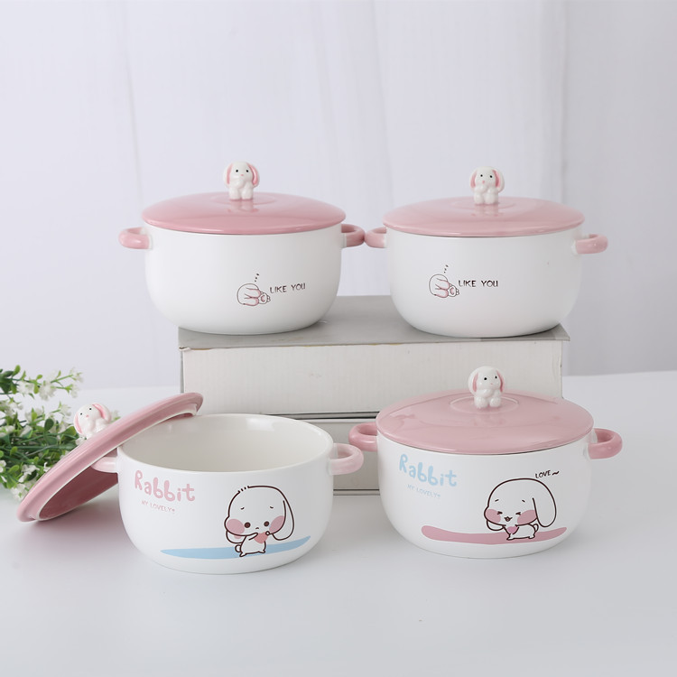 Pink Cute Cartoon Rabbit Ceramic Bowl Ceramic Rice Bowl Students Gift Dormitory Instant Noodle Bowl A Generation Of Fat