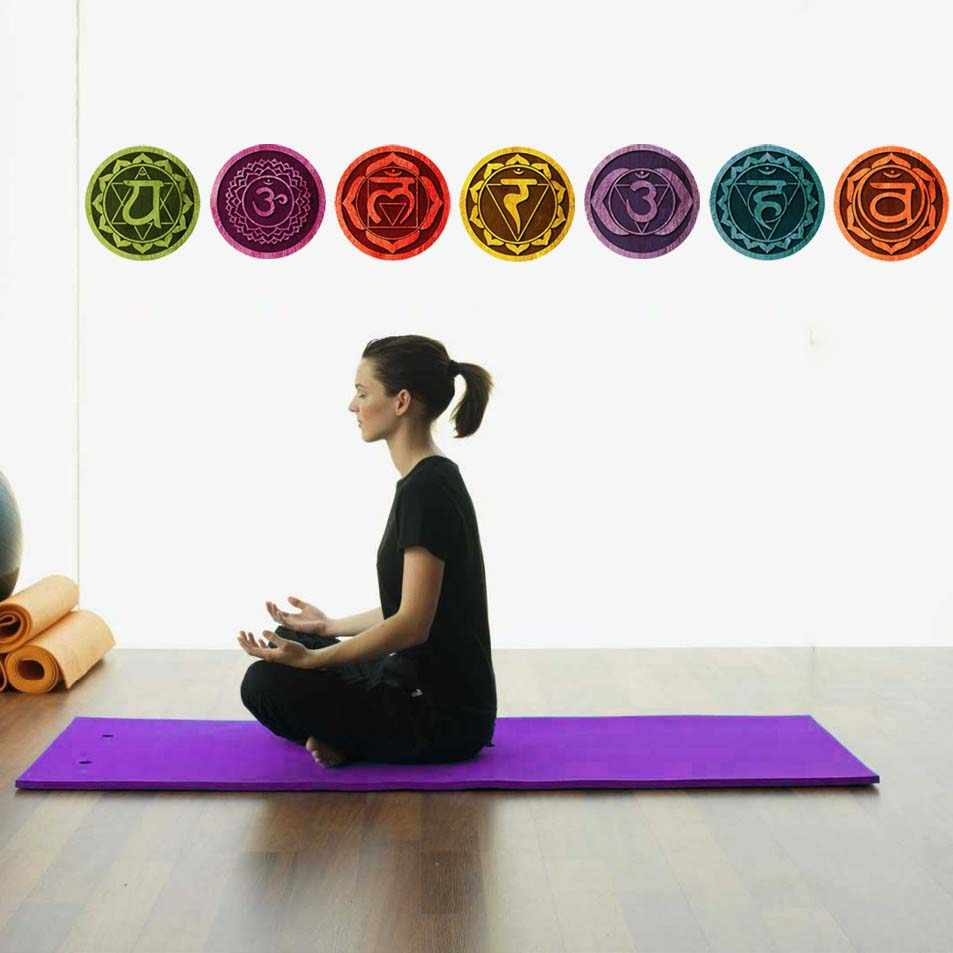 7 PCS Chakras Mandala Yoga Wall Sticker Wall Decals PVC waterproof Wallpaper Bedroom living room Home Decor 18cm/pcs art murals