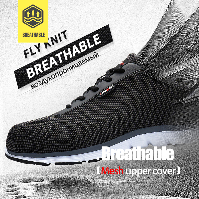 LARNMERN Lightweight Breathable Men Safety Shoes Steel Toe Work Shoes For Men Anti-smashing Construction Sneaker With Reflective 2