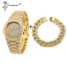 Hip Hop Luxury Iced Out Watches+Bracelet Date Quartz Wrist Watches