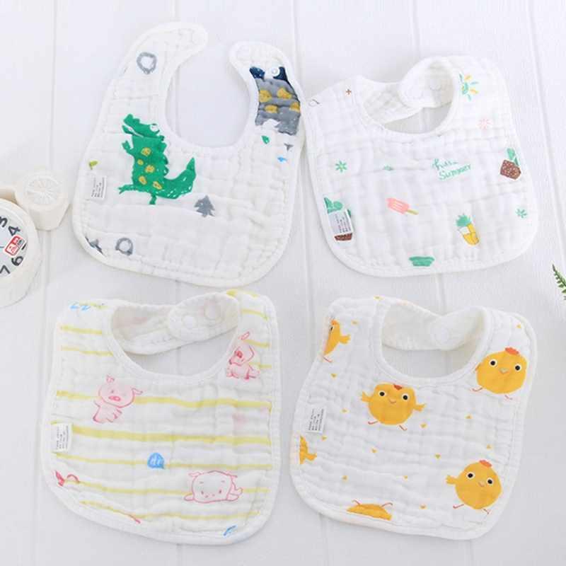 Baberos seersucker para bebé en forma de U, pañuelo para niña, babero absorbente de agua, tela de algodón, eructos para bebé, accesorios para Baberos para comer
