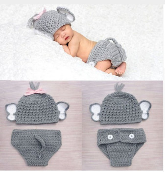 Newborn Photography Props Crochet Knit Costume Prop Outfits Calf Elephant Baby Hat Photo Props Baby Boy Girl Infant Hat football baby hat and shorts suit hot sale baby handmade cotton costume newborns photography props infant outfits