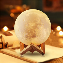USB Rechargeable 3D Print Moon Light Dimmable Touch Sensor Lamp 16 Color Changing Remote Control Night for Kids Gifts